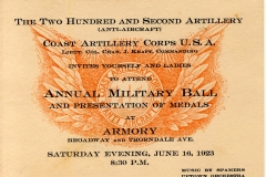 202nd Anti-Aircraft Coast Artillery Military Ball June 16 1923
