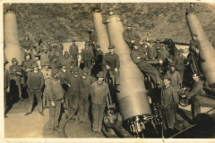 12 inch mortars and gunners from soldier at Fort Warren Mass